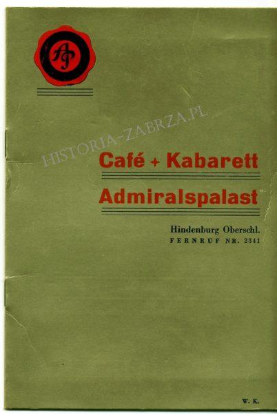 Hindenburg Admiralspalat hotel Zabrze menu