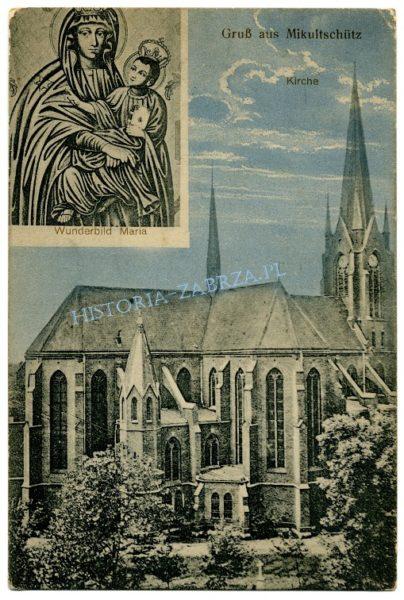 """Rzadka pocztówka z Mikulczyc, przedstawiająca kościół pod wezwaniem  św. Wawrzyńca i nierozłącznie z nim związany cudowny obraz """"Matki Boskiej Mikulczyckiej""""."""
