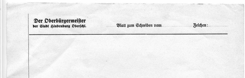 Oberbürgermeister  Hindenburg  Zabrze papier listowy Briefpapier