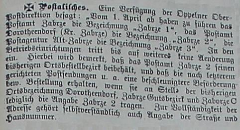 post zabrze hindenburg Zabrzer Anzeiger nr 79, Blatt 1  6 April 1905